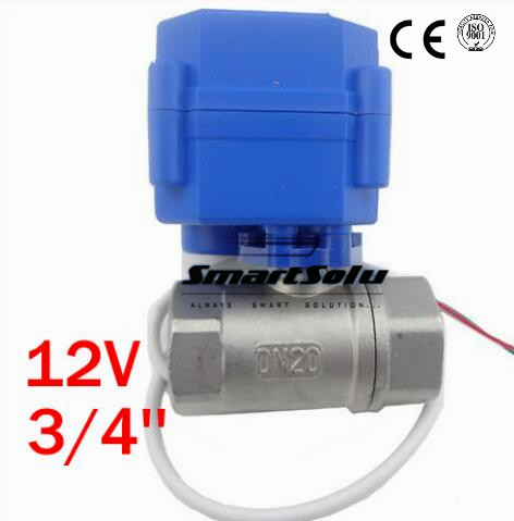 Free Shipping 3/4'' Stainless Steel Electric Ball Valve CWX-15Q 12V Voltage,Motor Operated Ball Valve DN20 1 1 4 dn32 female stainless steel ball valve 3 way 316 screwed thread manual ball valve handle t port gas oil liquid valve