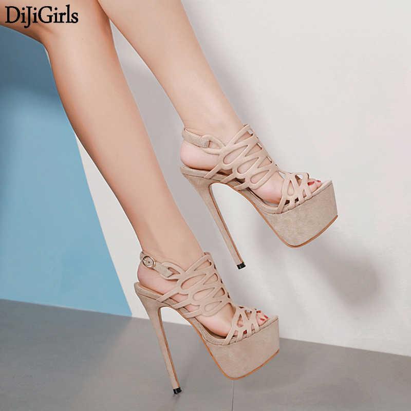 16cm Ultra High Heel Blue Shoes Sexy Stripper Shoes Party Pumps Summer Thin  Heel Platform High e0c6844588c0