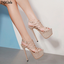 16cm Ultra High Heel Blue Shoes Sexy Stripper Party Pumps Summer Thin Platform Sandals Ladies