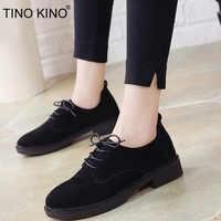TINO KINO Women Autumn Retro Low Heel Shoes Lace Up Suede Female Shoes Comfortable Elegant Ladies Fashion Classic Footwear