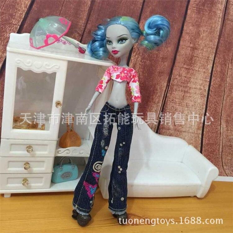 Äkta mode barn barn amerikanska Girls bjd Doll Tillbehör kläder kostym söt avslappnad klänning För Monster High Dolls 1/6