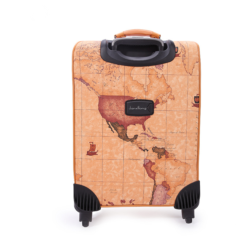 World map vintage trolley luggage male universal commercial wheels world map vintage trolley luggage male universal commercial wheels luggage travel bag suitcase female16 18 20 22 24 luggage sets in rolling luggage from gumiabroncs Image collections