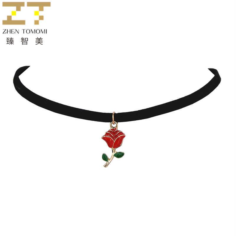 Hot Fashion Retro Rote Rosen Anhänger Collares Collier Schwarz Samt Leder Halsketten Für Frauen Schmuck 2019 Neuheiten