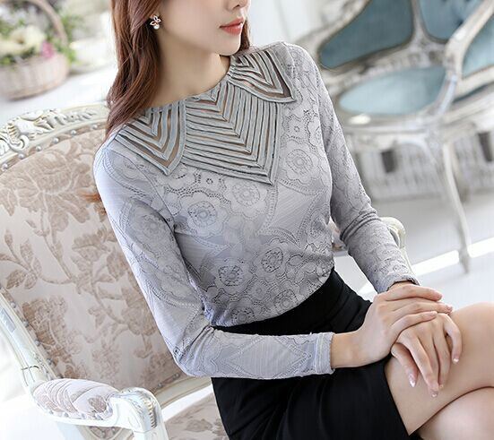 Lace Blouse Blusas Femininas 2018 Spring Summer Women Grey Shirt O-neck Long Sleeve Hollow Out Casual Plus Size Tops 1