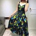 Новый 2017 лето бренд моды животных попугай шаблоны печати женщины девушки милые случайные dress рукавов хлопок платья карманы