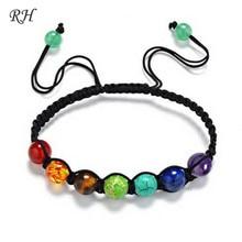726ad2bbfb80 8mm grandes cuentas 7 Chakra pulsera Yoga pulsera curación Balance  sobrenatural Lava Reiki piedras pulsera de perlas de joyería .