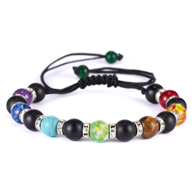 Classic Chakra 8mm Lava Stone Beads 7 Color Chain Bracelets for Women Men Elastic Rope Yoga Fashion A Bracelet Friendship 12