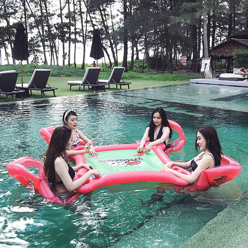 4-Person Inflatable Water Group Pool Float for Beach Island Floating Row Lounge Raft Adult Kids Water Toy Sunbath Bed with Chair