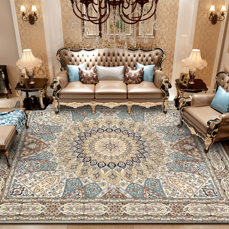 Nordice Persian Retro Style Carpet National Blue European Palace Rug Bedroom Living Room Carpet Large Parlor Hallway Floor Mat