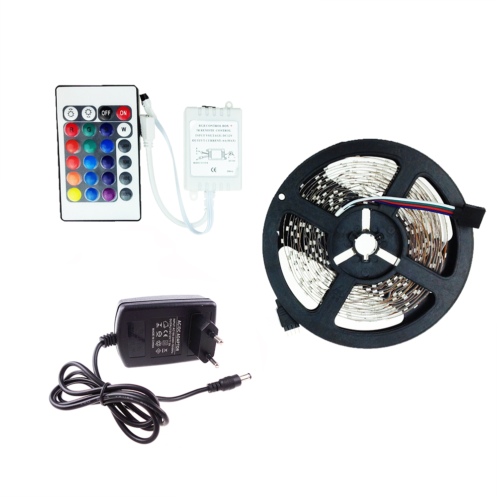 Led strip 3528 sets DC12V 5M 300led flexible ribbon 6 color RGB with DC connector or 24key IR remote controller 2A power adapter