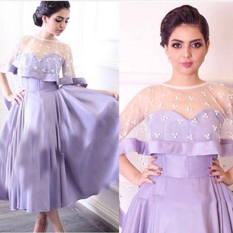 Baratos Púrpura elegante vestidos de coctel cortos 2017 con cabo té ...