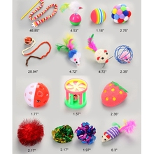 16 Pcs Cat Funny Tease Toys Set Variety Pack Including Feather Mouse Bell Ball Toys Kitten Interactive Exercise Pet Toys Set