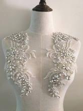 Luxury Rhinestone Beaded Lace Applique Pair , Wedding Gown Bridal Dress Emebllishment Accessories ,Crystal Birdal