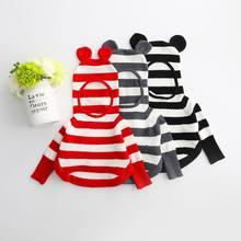 2016 Autumn New Girl Sweater Stripe Ears Knitting Pullover Hooded Children Cloak Kids Clothing 2-8T 70413
