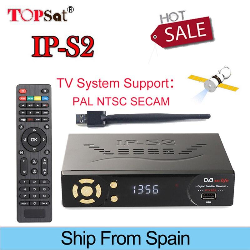 IPS2 DVB-S2 Satellite TV Receiver HD 1080p receptor Support PowerVu BissKey IPTV Cline batter than Freesat V8 super Portugal TV