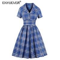 Enyuever Blue Plaid Dress Plus Size Women Autumn Clothes Retro Robe Pin Up Swing Sleeve Button Vintage Dress Vestidos Casual