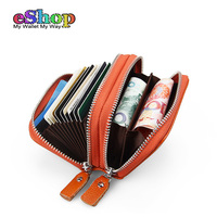 Fashion Women Genuine Leather Card Holder RFID Ladies Double Zipper Credit Card Wallet High Quality Cardholder