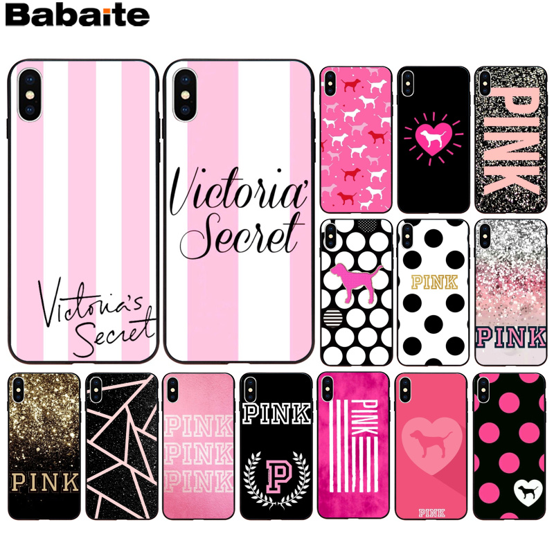 Babaite PINK LOVE PINK Soft Silicone black Phone Case for Apple iPhone 8 7 6 6S Plus X XS MAX 5 5S SE XR Mobile Cover(China)
