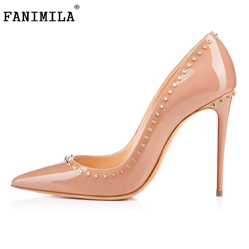 Women New Design Thin High Heel Shoes Woman Sexy Pointed Toe Pumps Fashion Stylish Rivets Heeled Footwear Shoes Size 35-46 B143 2017 new summer women flock party pumps high heeled shoes thin heel fashion pointed toe high quality mature low uppers yc268