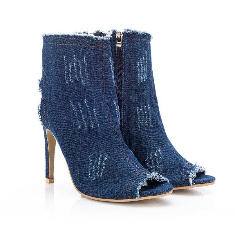 47773c5ca0c Toe Lin De Mode Haute Mince Dehors Nouveau Chaussures Blue Élastique Peep  Pompes Femmes Denim Simples Automne Roi Blue Dames Printemps Talon light  Deep Sexy ...