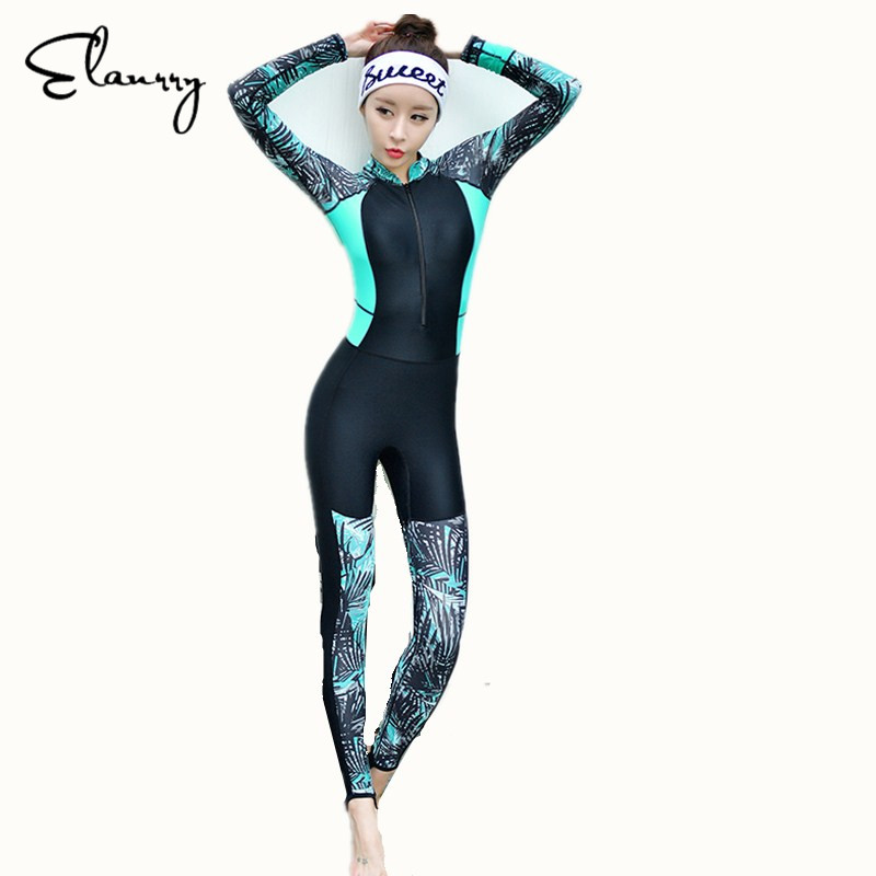 Elanrry 2017 Newest Long Sleeves Women RashGuards One Piece Plus Size Sport Swimsuit Girls Sexy Long Pants Print Swimwear ...