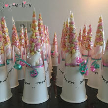 50pcs DIY Wedding Birthday Party Sweet Cellophane Clear Candy Cone Storage Bags Unicorn Party Decor Easter Decoration 18x37cm(China)