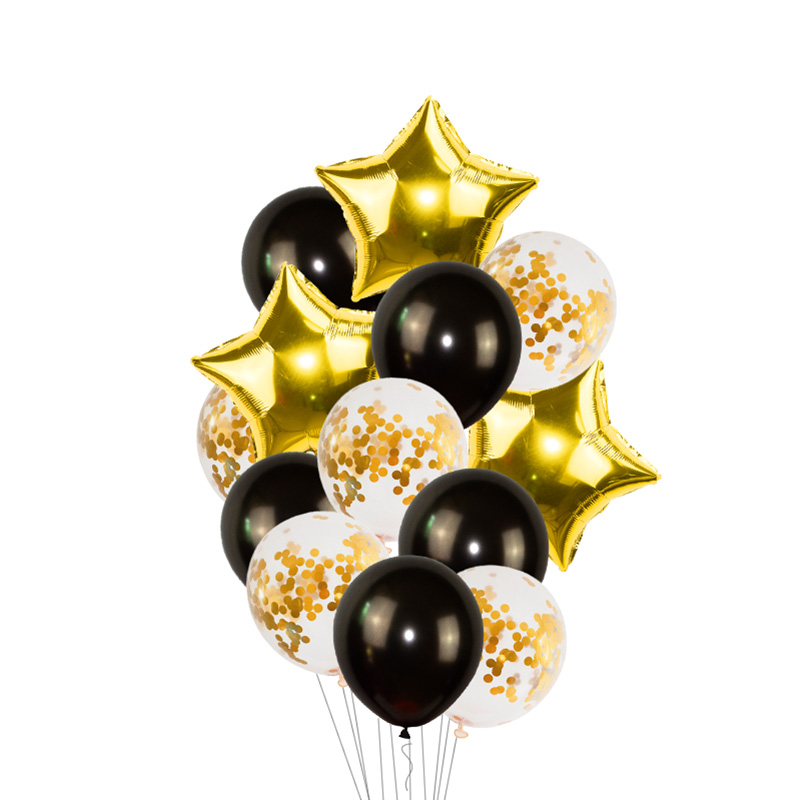 Black Gold Happy Birthday Banner Balloons With Helium Number Foil Balloon for Baby Party Decorations 3