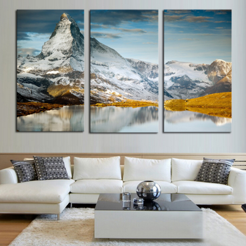 Us 20 7 Large Canvas Prints Wall Art 3 Pieces Scenery Decorative Picture Painting Continuous Snow Capped Mountains Pictures No Frame In Painting