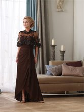 3-10 Elegant Long Little Brown With Jacket Formal Mother Of The Bridal Dress