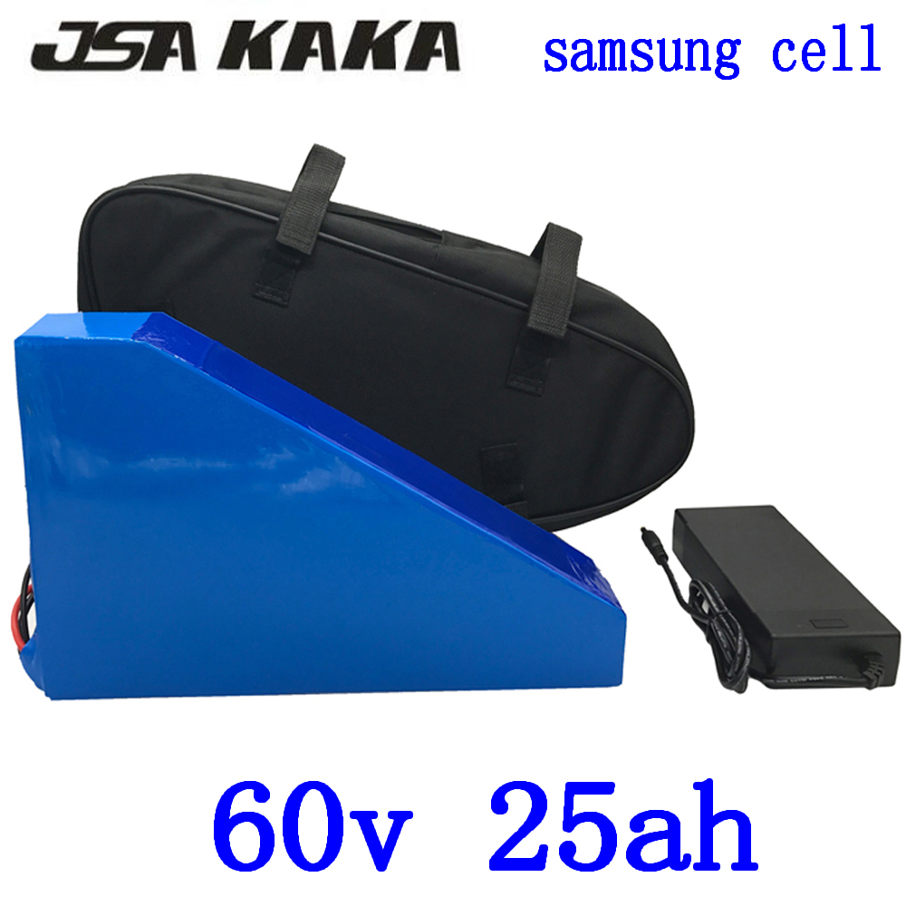 <font><b>60V</b></font> Triangle battery <font><b>60V</b></font> 25AH electric bike battery use <font><b>samsung</b></font> cell <font><b>60V</b></font> 1500W 2000W electric scooter battery with 67.2V charger image