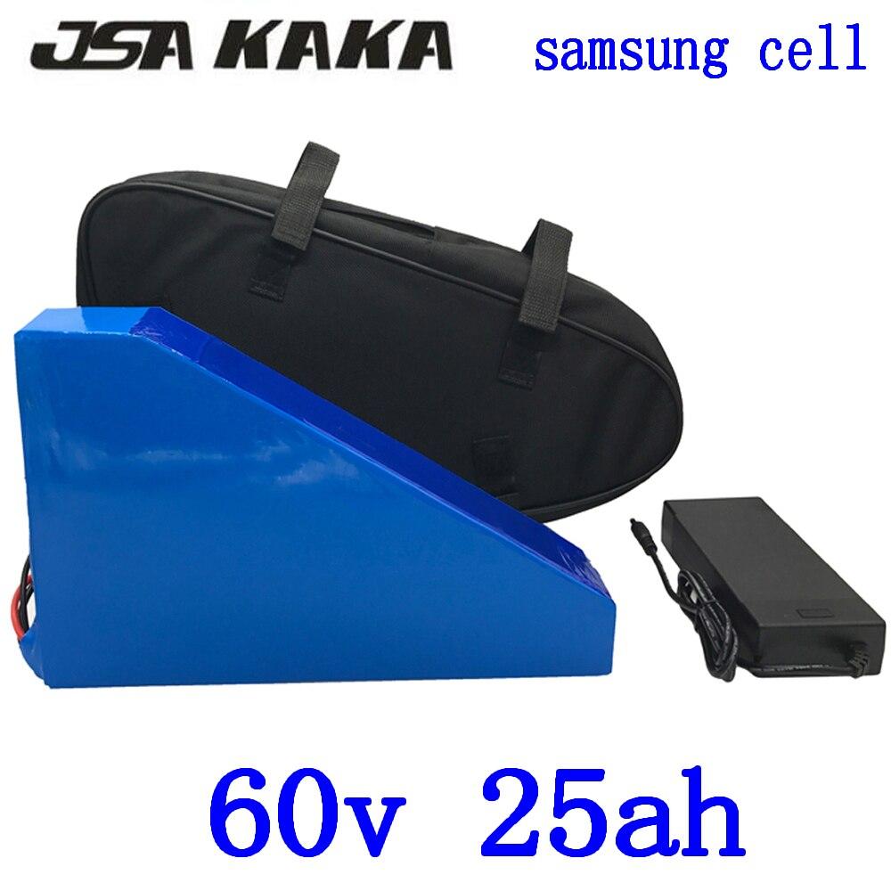 60 V Triangle batterie 60 V 25AH vélo électrique utilisation de la batterie samsung cellulaire 60 V 1500 W 2000 W Batterie de scooter électrique avec 67.2 V chargeur