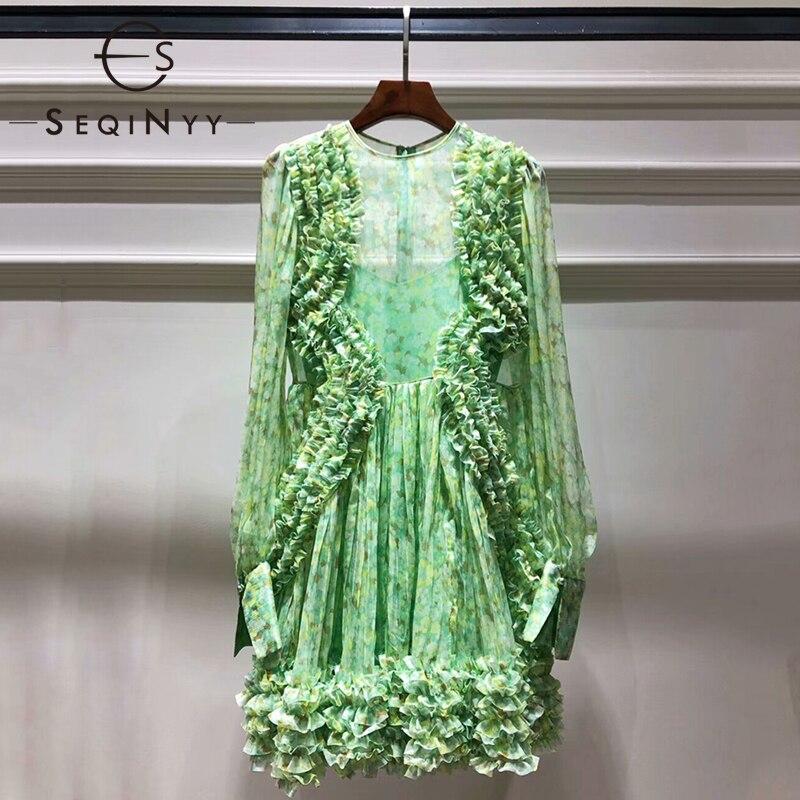 SEQINYY الصيف رومانسية اللباس 2019 أزياء المدرج عالية الجودة جديد تصميم فانوس كم الكشكشة مطوي الزهور طباعة اللباس-في فساتين من ملابس نسائية على  مجموعة 1