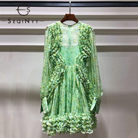 SEQINYY Summer Romantic Dress 2019 Fashion Runway High Quality New Design Lantern Sleeve Ruffles Pleated Flowers Print Dress