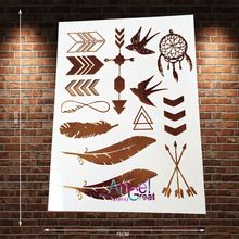 1PC Fashion Waterproof Temporary Tattoo Feather Arrow Dreamcatcher Swallow Design Gold Metallic Tattoo For Men Women Makeup AYS9