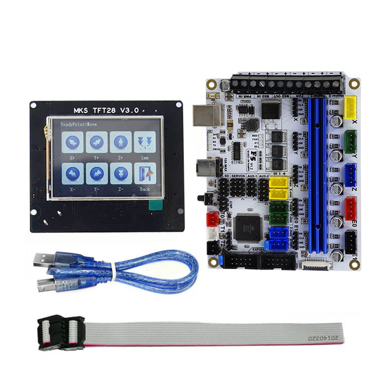 3D Printer F5 V1.2 Motherboard MKS Controller Board with TFT28 2.8Inch Display Screen USB Cable XXM8 mks gen v1 4 motherboard mks controller board with tft28 v3 0 display screen usb cable set sl 88