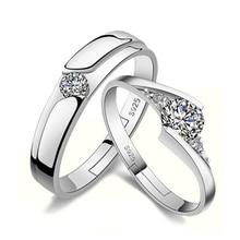Anenjery классические обручальные кольца Anillos 925 Стерлинговое Серебро Циркон вечность Открытие для женщин и мужчин кольца подарок на день Святого Валентина