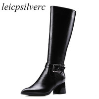 Women Boots Winter Autumn Warm Plush Shoes Knee High Heels Motorcycle Boot Pointed Toe Platform Zip Pu 2019 Sexy New Black Brown
