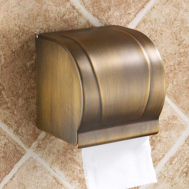 Free Shipping European Style Wall Tissue Box Holder Toilet Paper Holder Antique Brass Toilet Roll Holder Bathroom Accessories black of toilet paper all copper toilet tissue box antique toilet paper basket american top hand cartons page 7