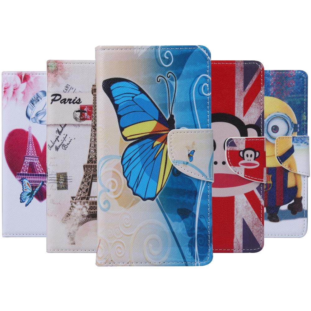 Painted Butterfly Tower Owl Flip Stand Case for Huawei Y6 PU + Silicon Wallet Cover for Huawei Y6 Case phone Coque Fundas