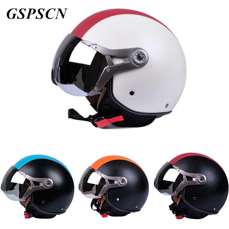 GSPSCN New Unisex Genuine Leather Adjustable Vintage Motorcycle Helmets Open Face Safety Motorbike Goggles Helmet Moto capacete