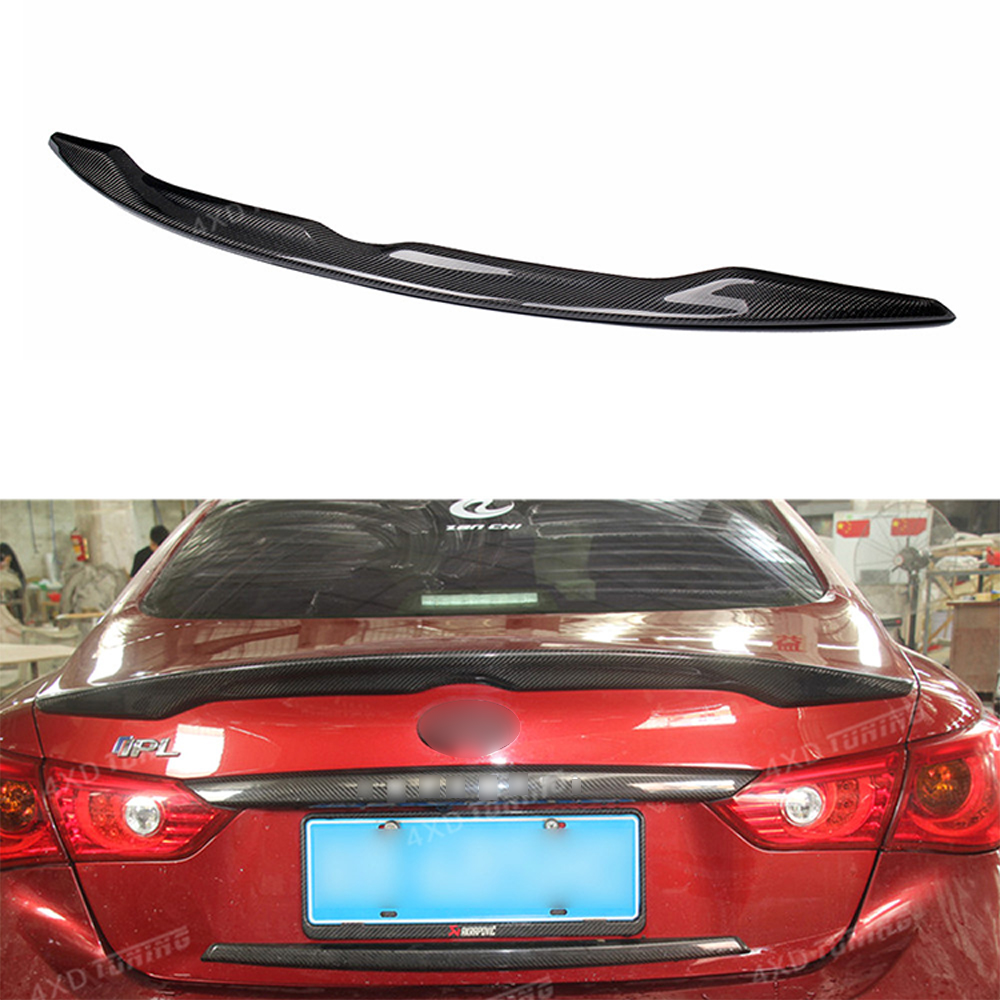 For Infiniti Q50 Q50S Carbon Rear spoiler car Rear Bumper Trunk Wing Gloss Black Finish Q50 Q50S Spoiler 2014 2015 2016 2017