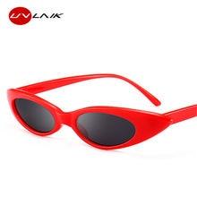 af7fcce17 UVLAIK صغيرة النظارات الشمسية القط العين النساء ريترو جولة الشمس نظارات  الفاخرة البيضاوي Cateye مرآة UV400 نظارات نظارات