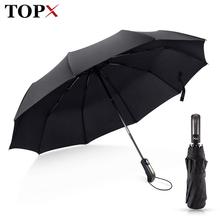 Wiatroodporny składany Parasol automatyczny deszcz kobiety Auto luksusowe duże wiatroszczelne parasole deszcz dla mężczyzn czarna powłoka 10K Parasol tanie tanio TOPX Pongee 48-53 cm promień Składane DYD164 Trzy składane parasol Metal Dorosłych W pełni automatyczny Fishing