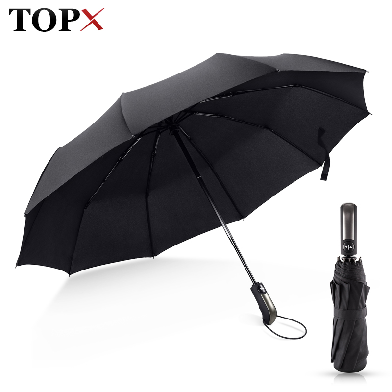 Vindbestandig foldning Automatisk paraply Regn Kvinder Auto Luksus Stor Windproof Paraplyer Rain For Men Sort Coating 10K Parasol