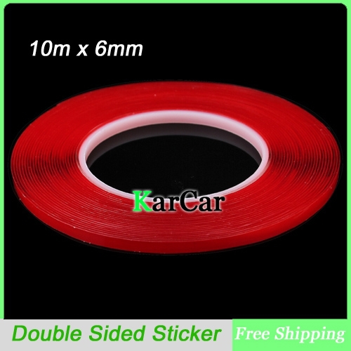 10m x 6mm Silicone Double Sided Tape Sticker For Vehicle, High Strength Automotive Accessories Transparent Adhesive Stickers 10m super strong waterproof self adhesive double sided foam tape for car trim scotch
