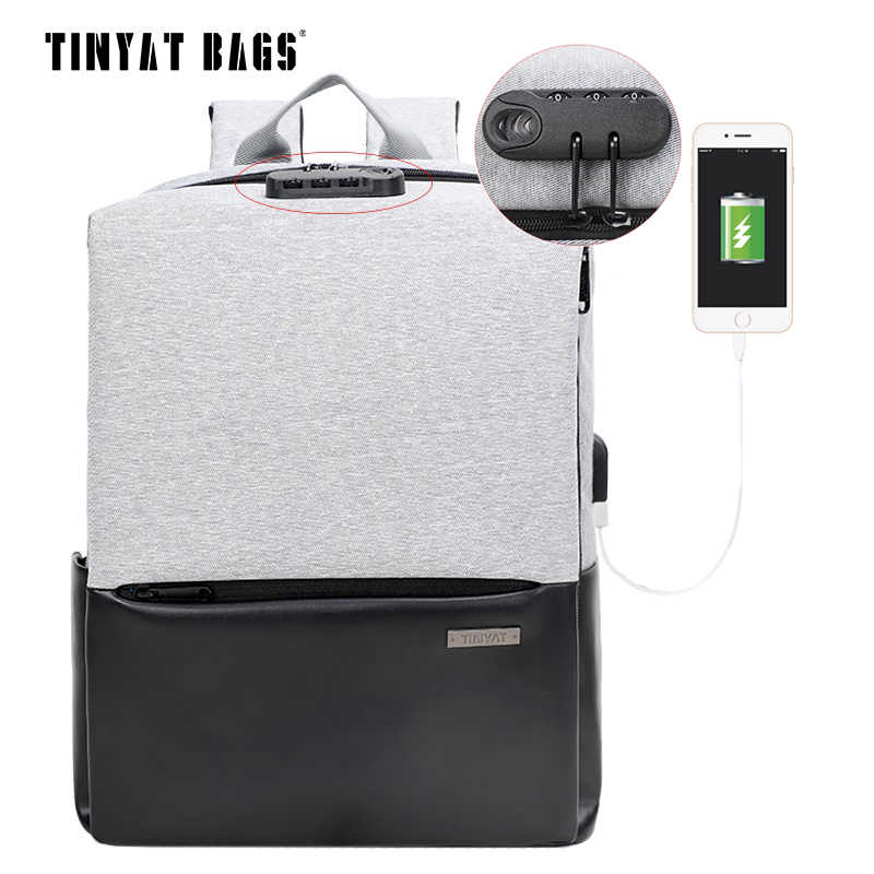 TINYAT Men School Backpack Waterproof Polyester Leather Backpack USB 15 inch Laptop Backpack Male Travel Mochila Black Bagpack