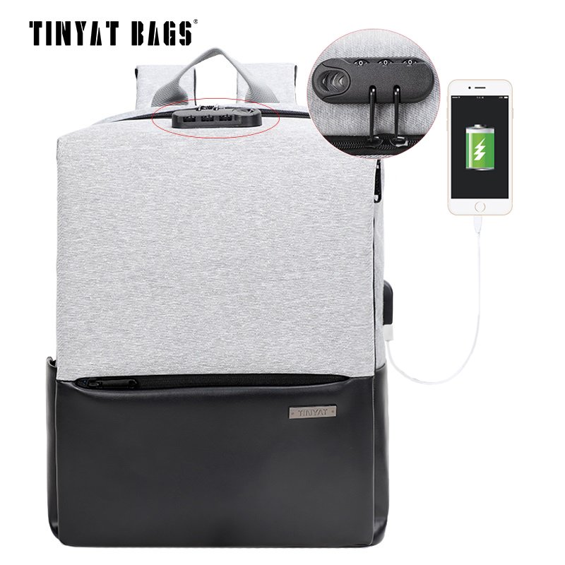 TINYAT Men School Backpack Waterproof Polyester Leather Backpack USB 15 inch Laptop Backpack Male Travel Mochila Black Bagpack vicuna polo men leather usb cable travel laptop backpack with headphone hole school backpack has front pocket bagpack mochila