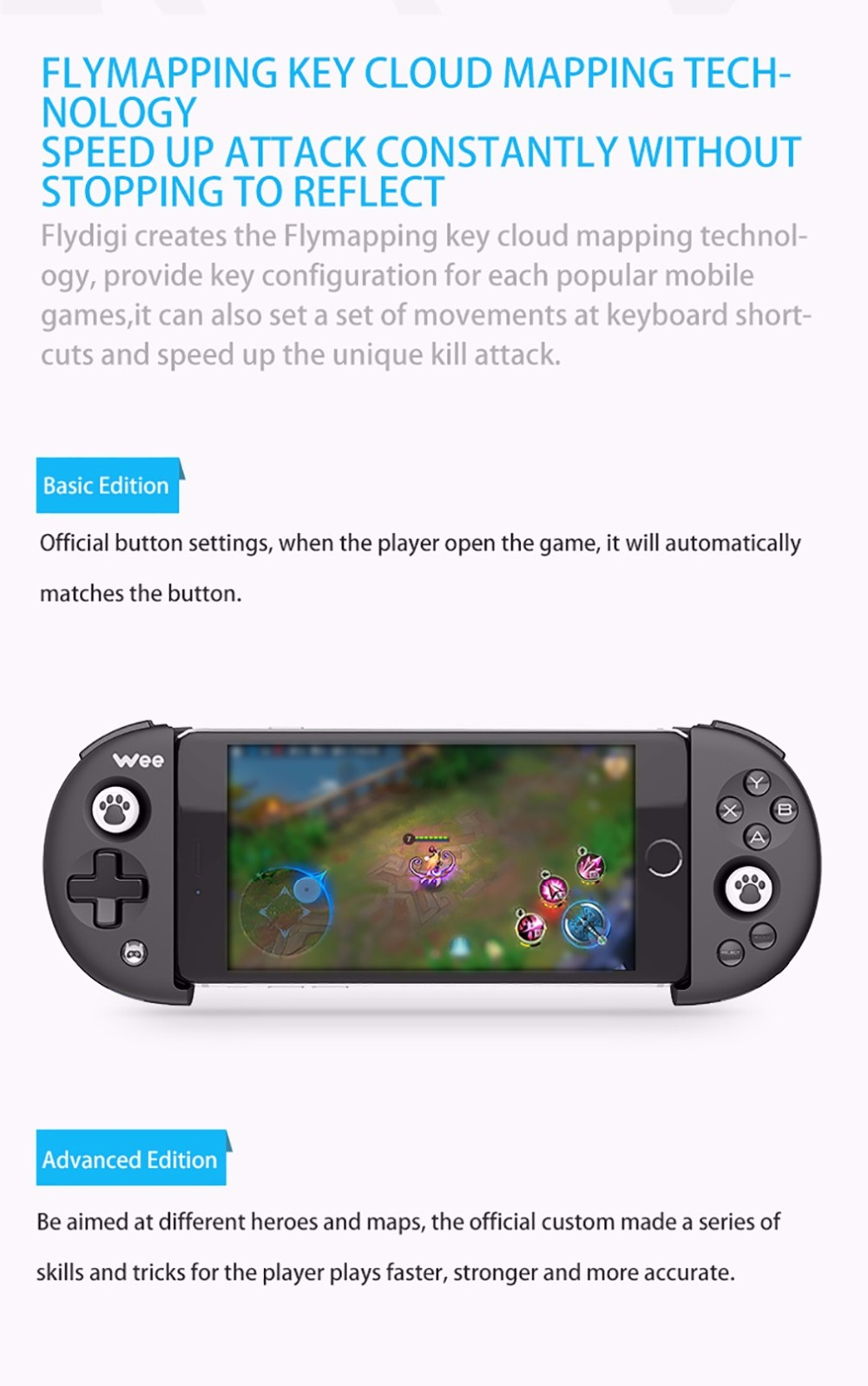 FlyDiGi Wee Bluetooth 4 0 Mobile Game Non-vibration Stretchable Handle  Controller Gaming for Android IOS SmartPhone Tablet PC