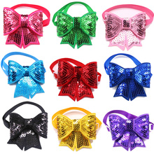 50pcs/Lot Christmas Cute Shining Pet Puppy Dog Cat Bow Ties Adjustable Bowties for Small&Medium Accessories Products