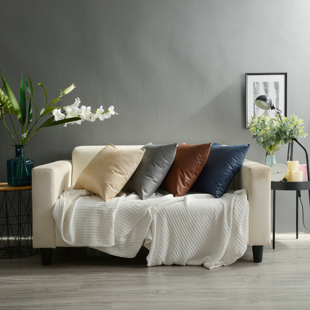 Throws For Leather Sofas: 43cm*43cm Imitation Leather Sofa Waist Throw Cushion Cover